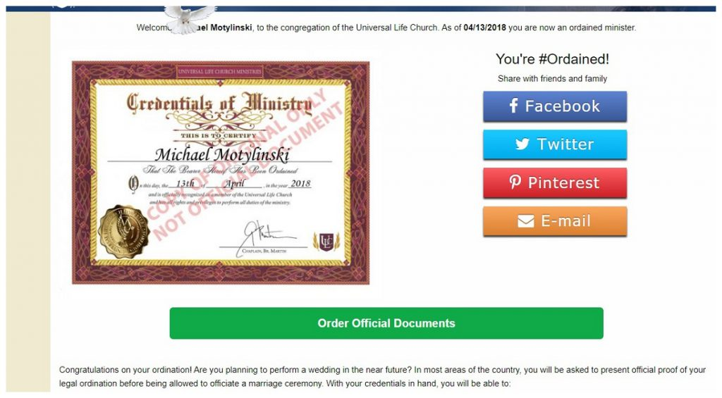 picture of when i got ordained with united life church