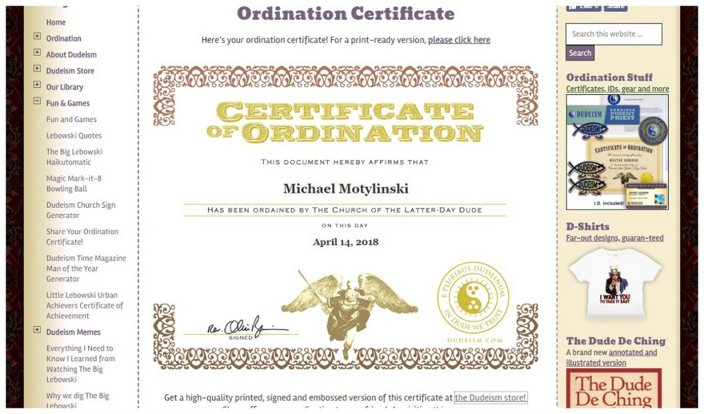 ordination papers from church of dudeism