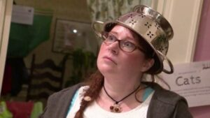 woman ordained online wearing pastafarian uniform at wedding