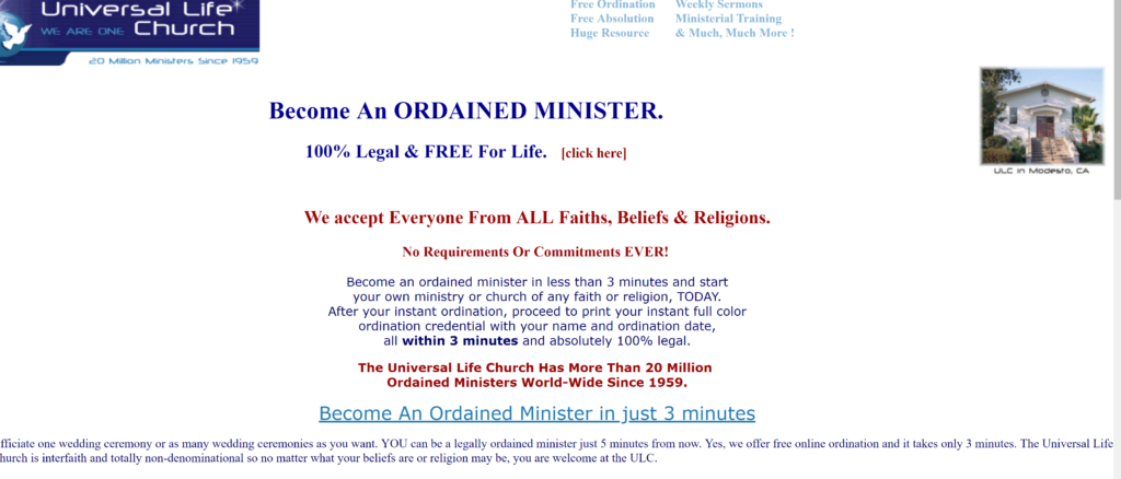 screen shot of website that ordained ministers