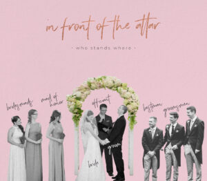 bridal party line up at the altar