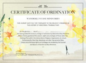 flowers on online ordination certificate